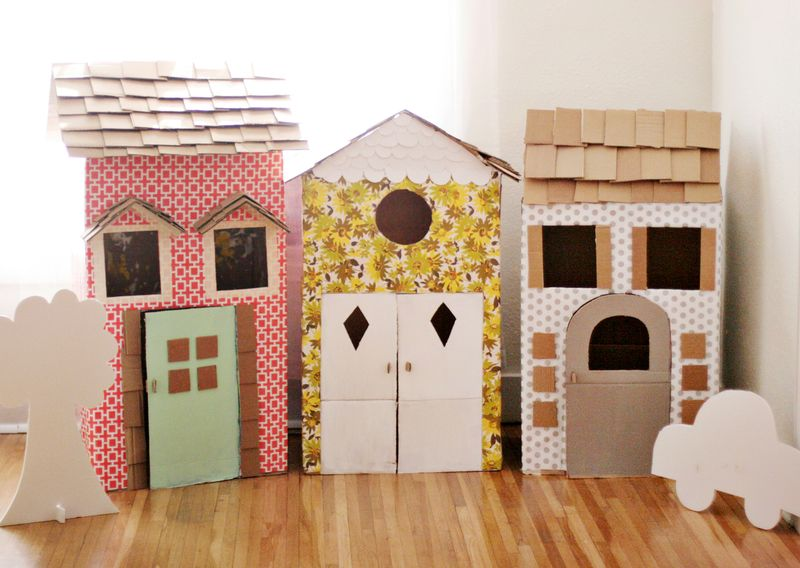 cardboard house village | 25+ things to make with cardboard