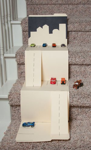 cardboard cars ramp on the stairs | 25+ things to make with cardboard