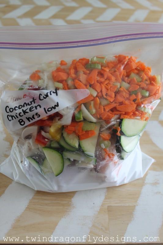 coconut curry chicken freezer crockpot meal | 25+ Freezer to Crockpot Meals