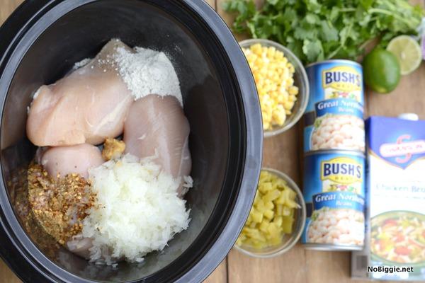 freezer crockpot white bean chili recipe | 25+ Freezer to Crockpot Meals
