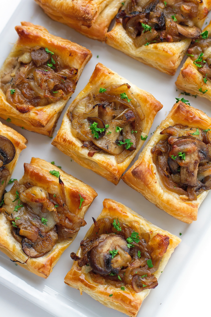 Gruyere Mushroom Caramelized Onion Bites | 25+ Puff Pastry Dough Recipes