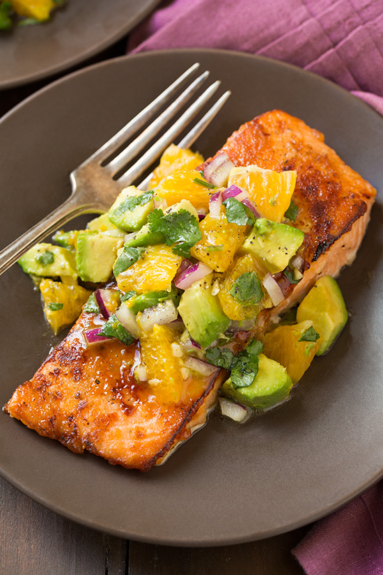 honey glazed salmon with citrus avocado salsa