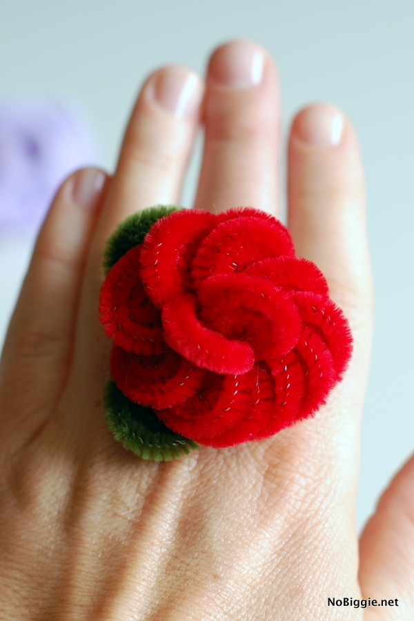 pipe cleaner rose ring | NoBiggie.net