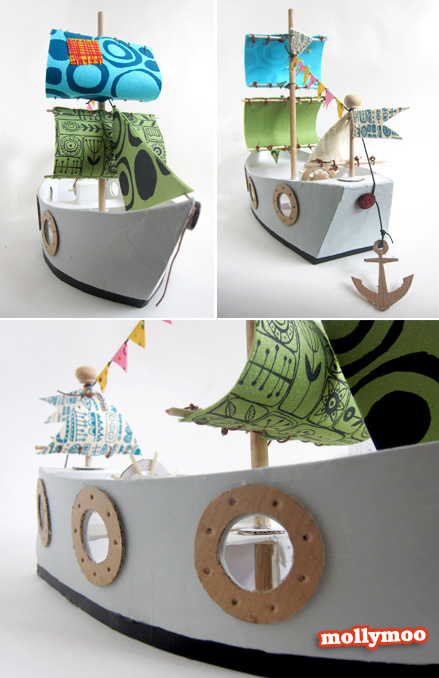 cardboard pirate ship | 25+ things to make with cardboard