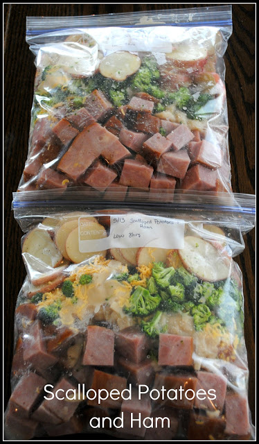 scalloped potatoes and ham freezer crockpot meal | 25+ Freezer to Crockpot Meals