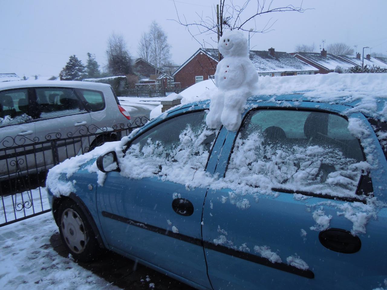 snowman on the car