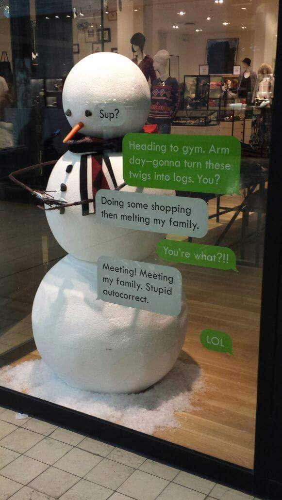 texting snowman
