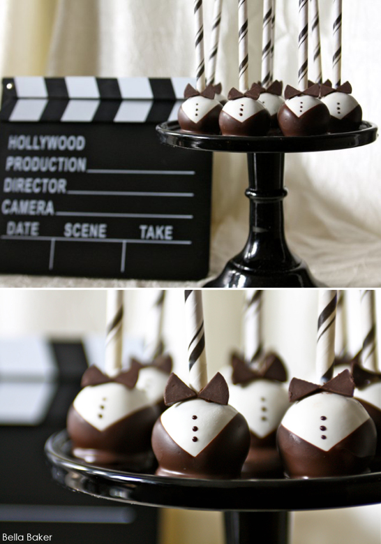 tuxedo cake pops | 25+ Oscar Party Ideas