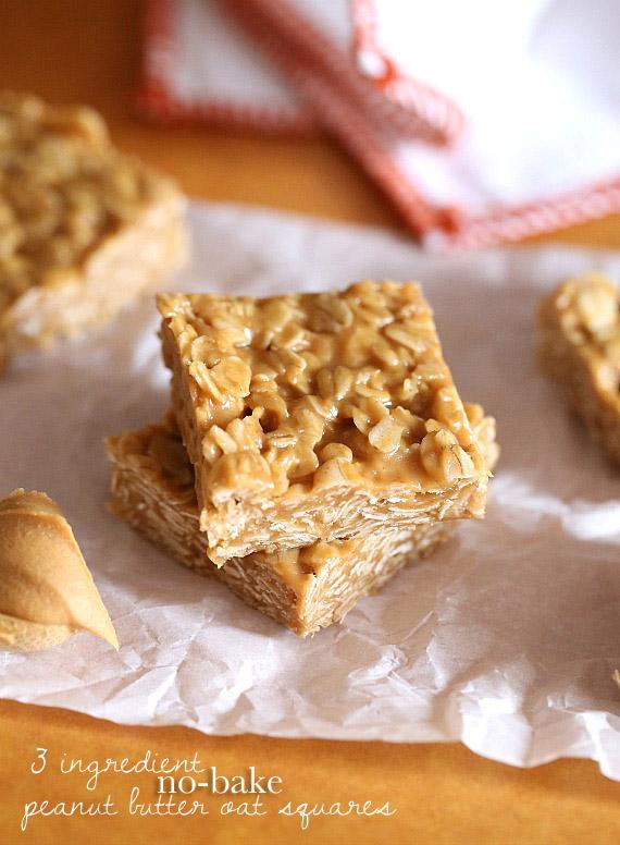 3 Ingredient No Bake Peanut Butter Oat Squares | 25+ No Bake Desserts