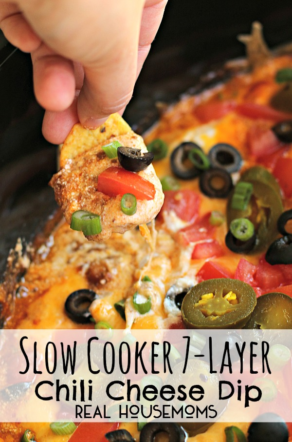 7 Layer Chili Cheese Dip | 25+ slow cooker appetizer recipes