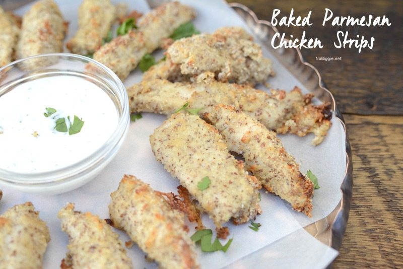 Baked Parmesan Chicken Strips these are so good! | NoBiggie.net