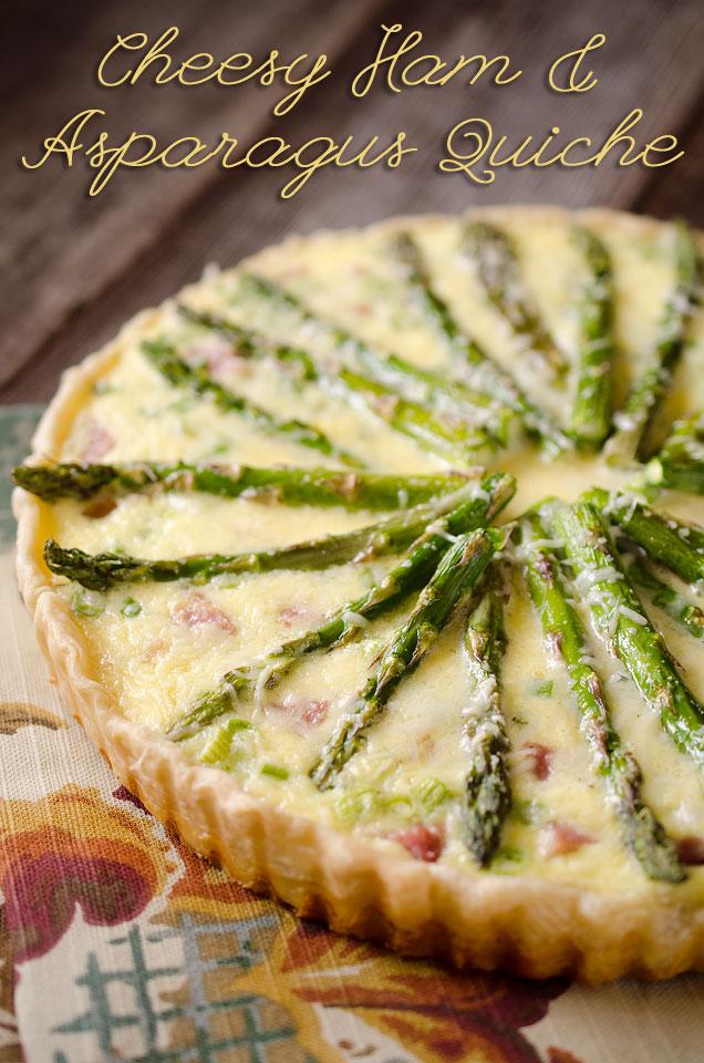 Cheesy Ham and Asparagus Quiche | 25+ Leftover Ham Recipes