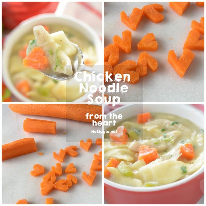 Heart shaped carrots in Chicken Noodle Soup | NoBiggie.net
