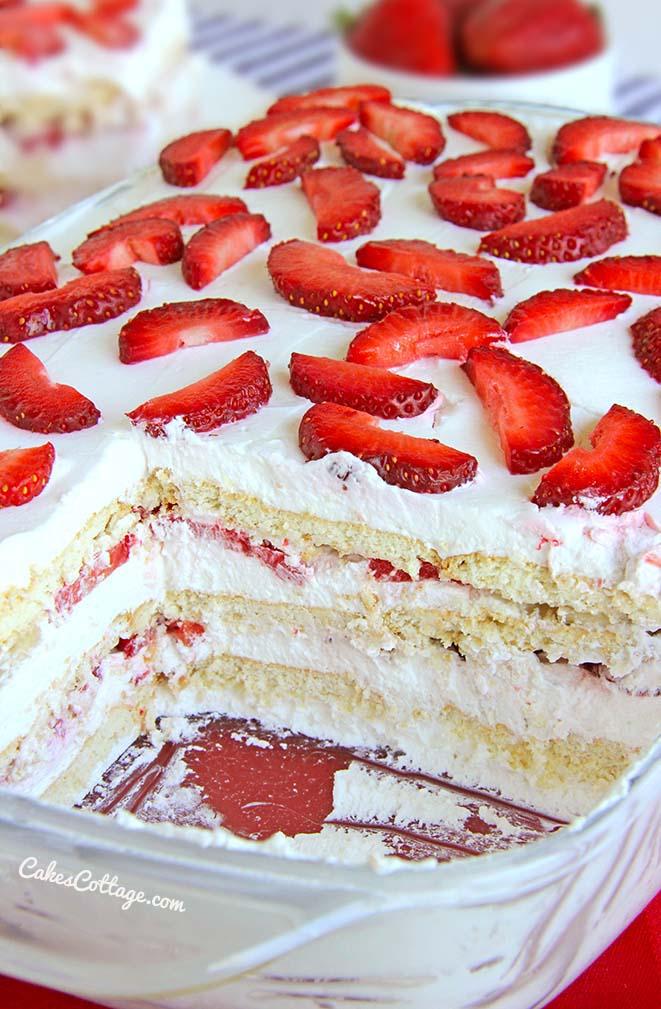 No Bake Strawberry Icebox Cake | 25+ No Bake Desserts