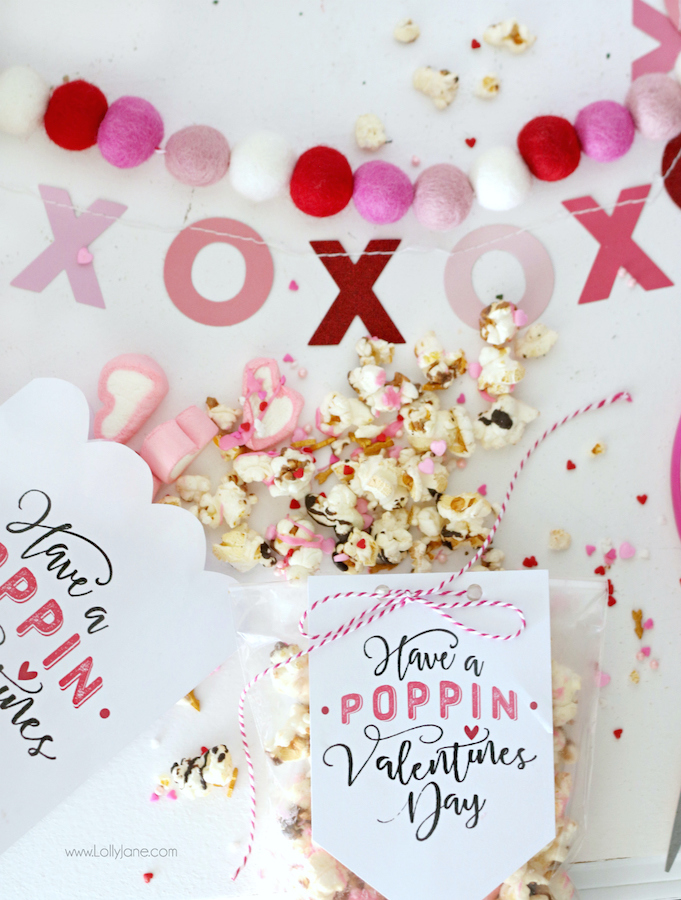 Popcorn Valentines Day gift tag | 25+ Printable Valentines