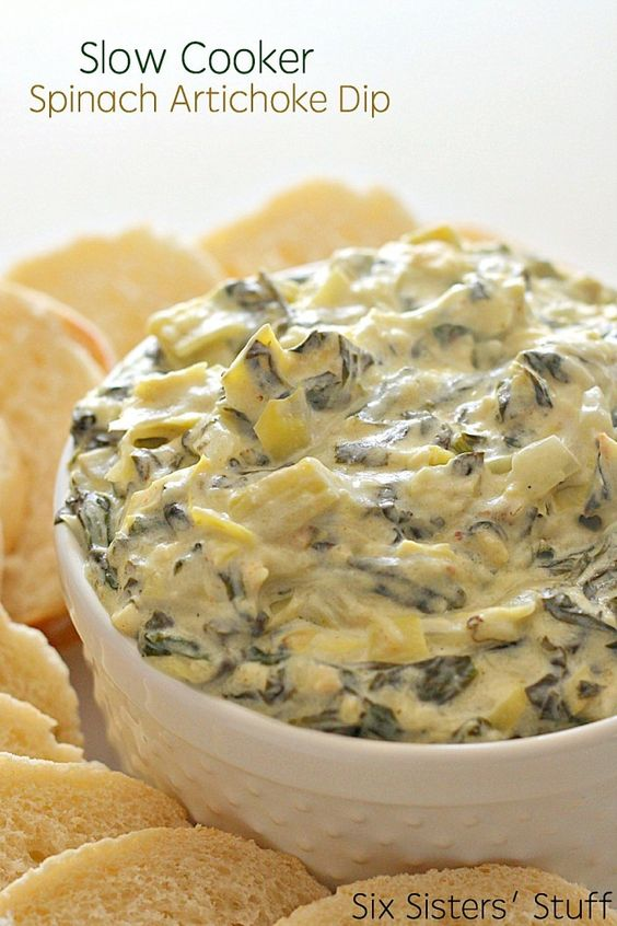 Spinach Artichoke Dip | 25+ slow cooker appetizer recipes
