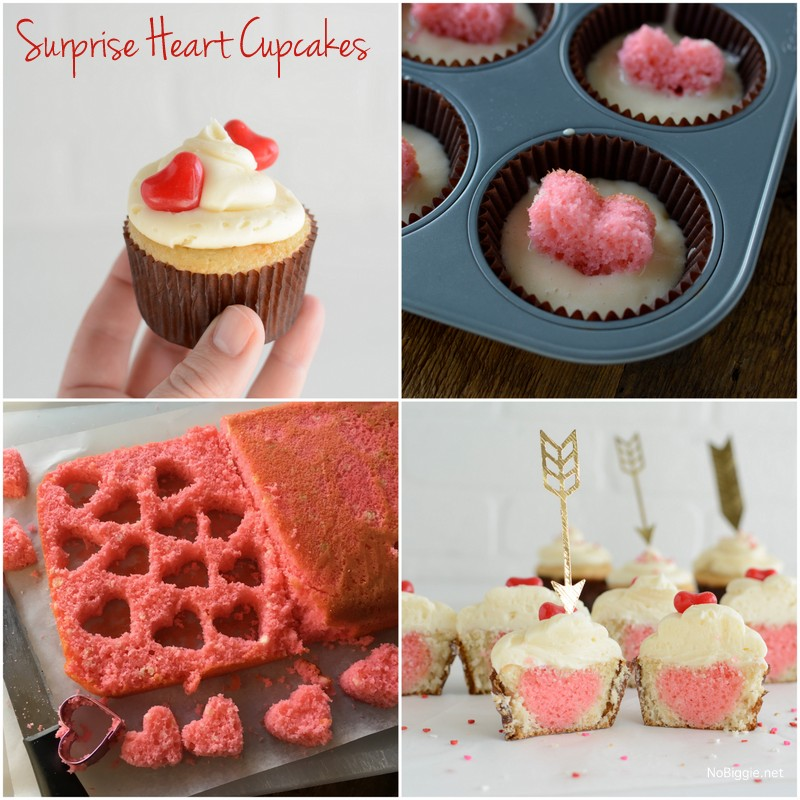 Surprise Heart Cupcakes | NoBiggie.net