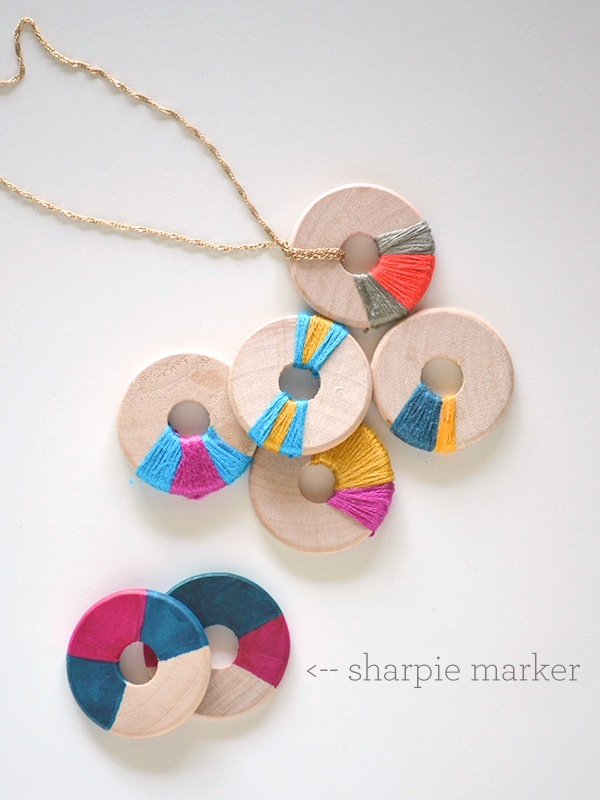 DIY modern wood jewelry made with sharpies | 25+ Sharpie Crafts