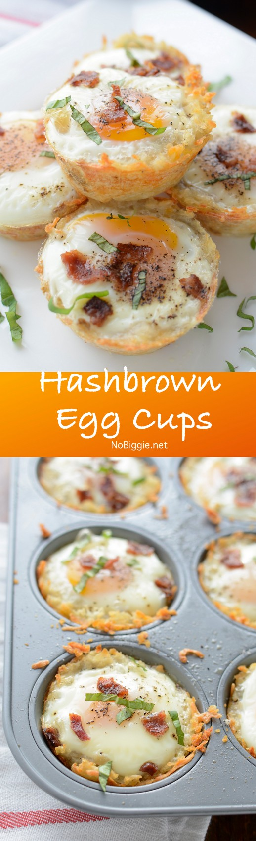 Hashbrown Egg Cups - such a great breakfast to feed a crowd. You can make most of it a day ahead and just bake the eggs right before serving. #eggcups #brunchrecipes #brunch #breakfast