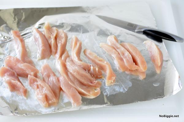making Baked Parmesan Chicken Strips | NoBiggie.net