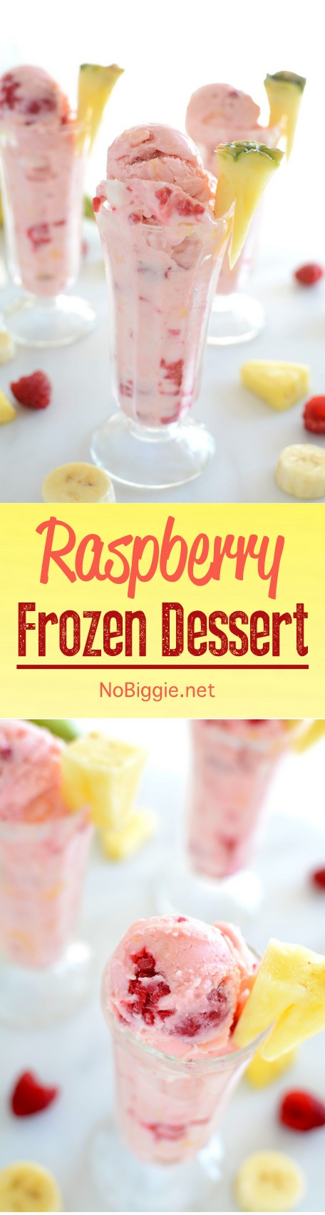 Frozen Raspberry Dessert - a semi-homemade ice cream dessert that\'s so easy to whip up. #icecream #frozendessert #raspberry #raspberrydessert #summerdesserts