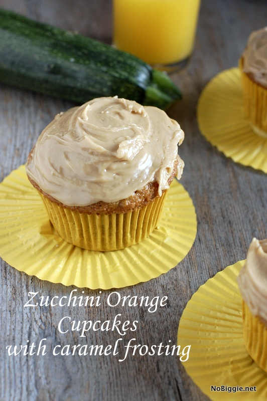 Zucchini Orange Cupcakes with caramel frosting - a semi-healthy recipe with zucchini and orange juice. #ZucchiniOrangeCupcakes #Zucchini #Orange #cupcakes #cupcakerecipes