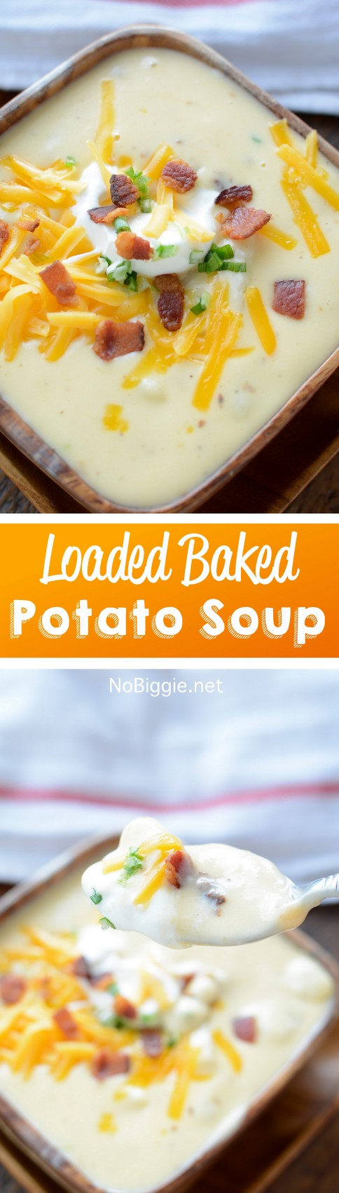 Everything you loved about a loaded baked potato...in a soup! This recipe for loaded baked potato soup is so creamy and delicious! #soup #potatosoup #loadedbakedpotato #bakedpotato #souprecipes