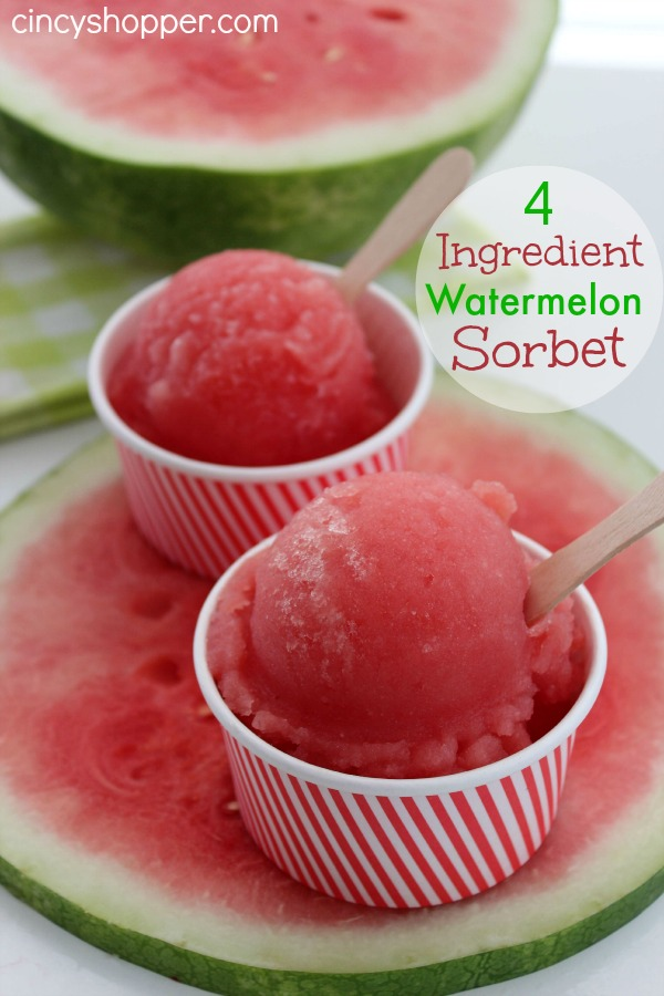 4 Ingredient Watermelon Sorbet Recipe | 25+ Watermelon recipes