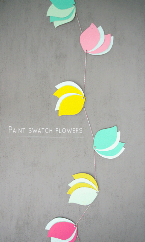 DIY Paint Swatch Flowers | 25+ Paper Flower Crafts