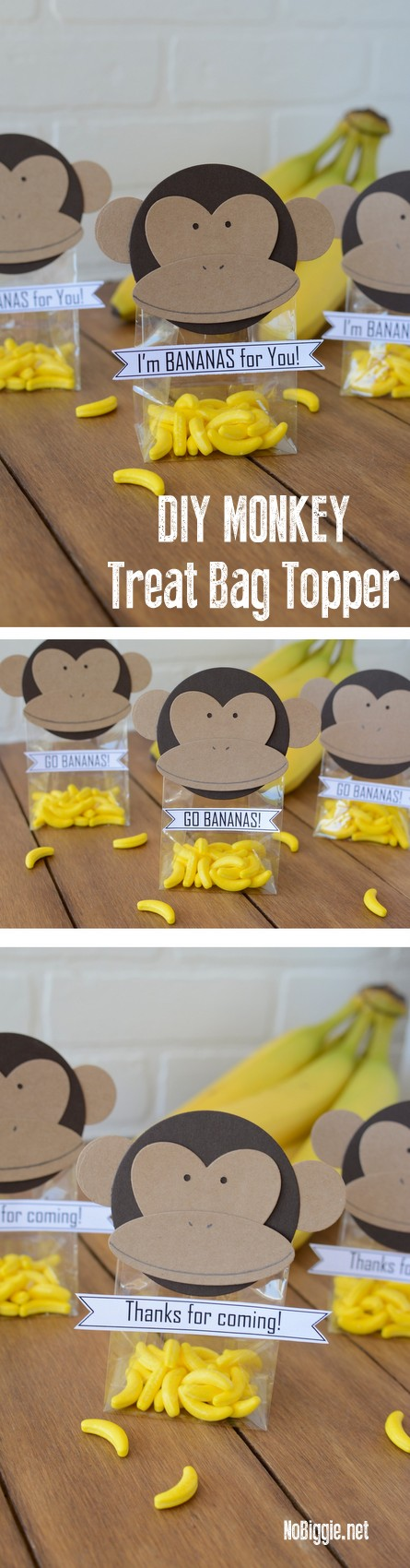 DIY monkey treat bag toppers | NoBiggie.net