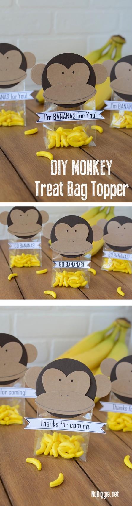 DIY monkey treat bag toppers | NoBiggie.net