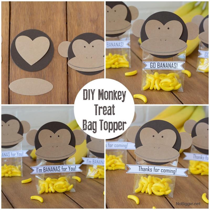 DIY paper monkey treat bag toppers | NoBiggie.net