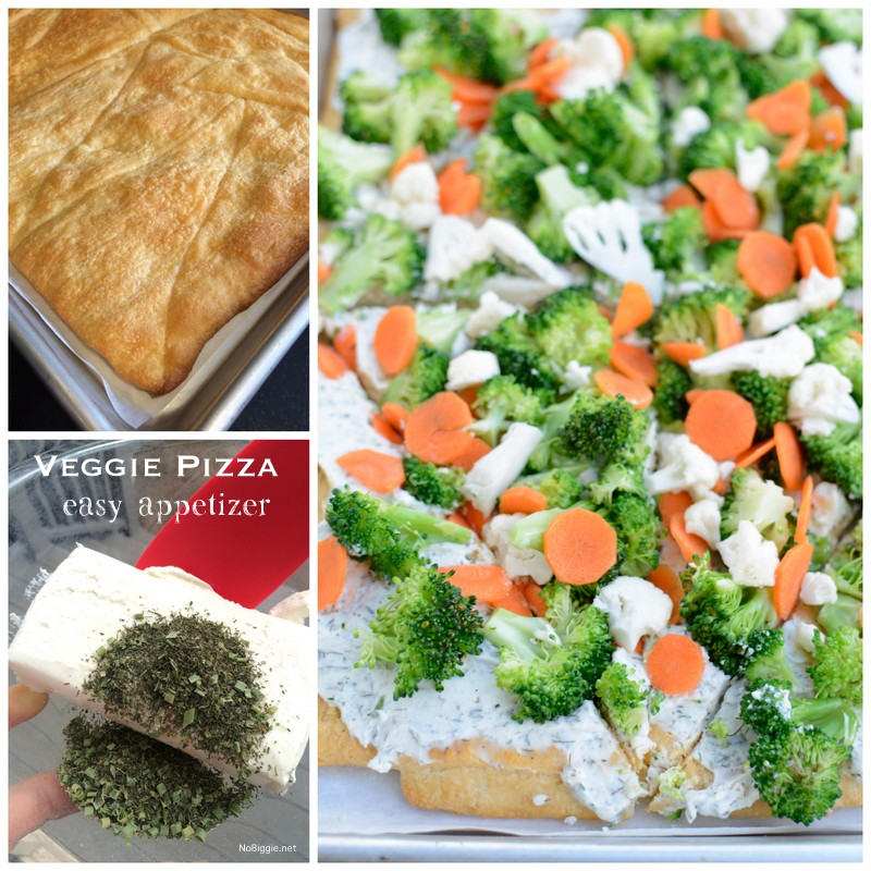 Easy Veggie Pizza Appetizer Crescent crust topped with ranch dip mixture then loaded with veggies. Perfect cold bite sized appetizer. | NoBiggie.net