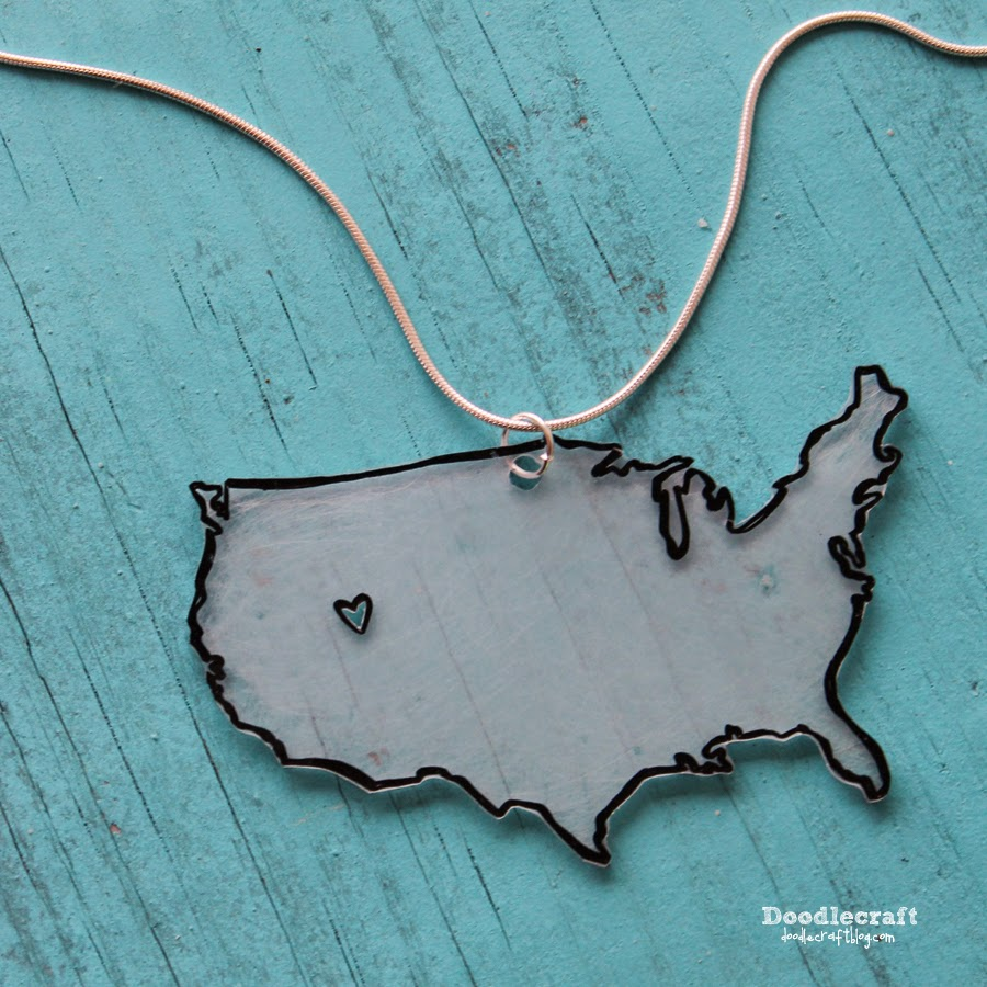 Love my STATE or USA DIY Jewelry | 25+ Shrinky Dink Crafts
