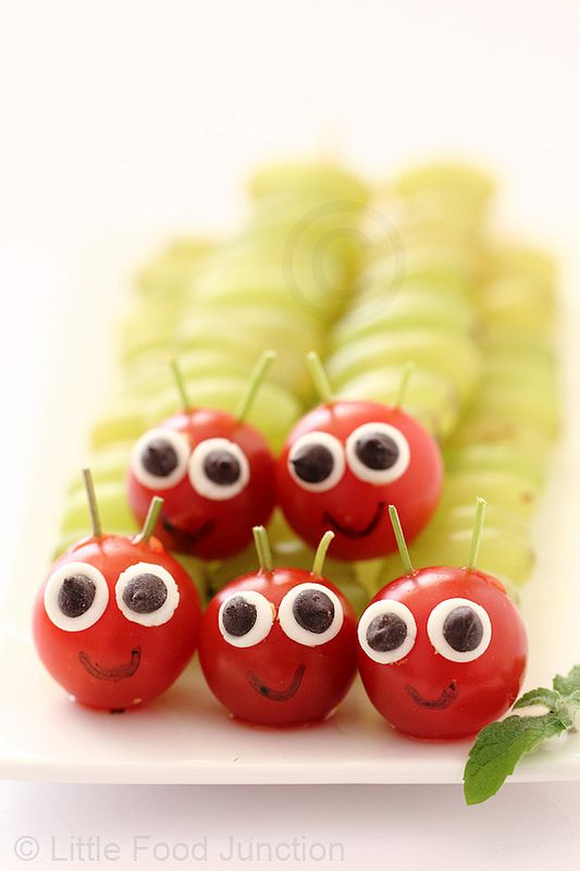 grape caterpillars | 25+ Cute & Healthy Snacks