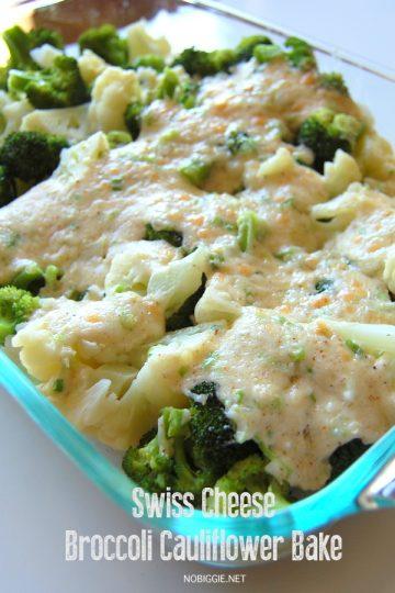 swiss cheese broccoli cauliflower bake