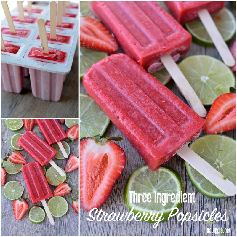 three ingredient strawberry popsicles | NoBiggie.net