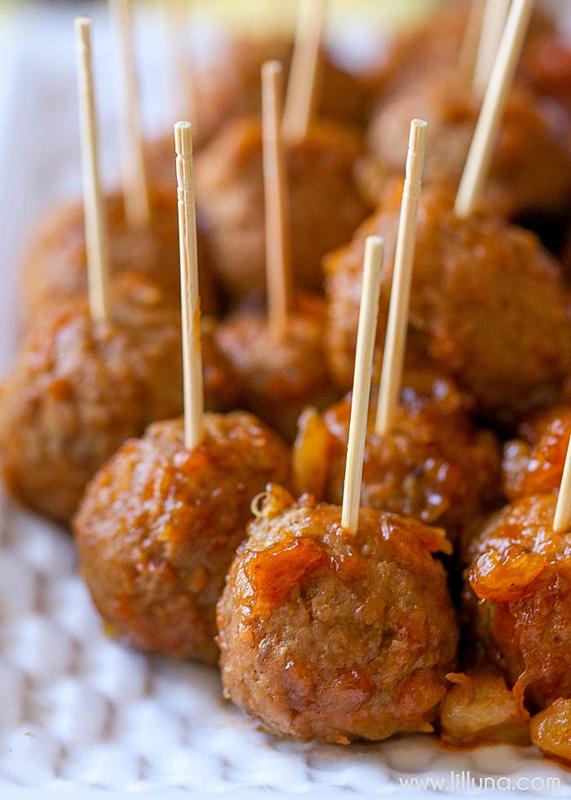 BBQ Pineapple Meatballs   25+ Pineapple Recipes