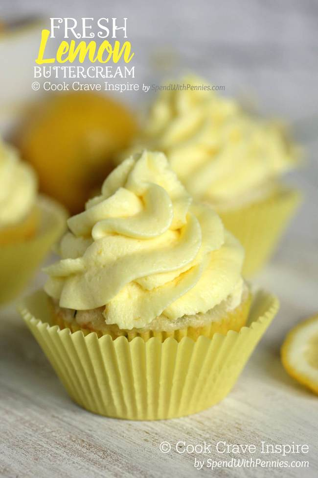 Fresh Lemon Buttercream | 25+ Cupcake Frosting recipes