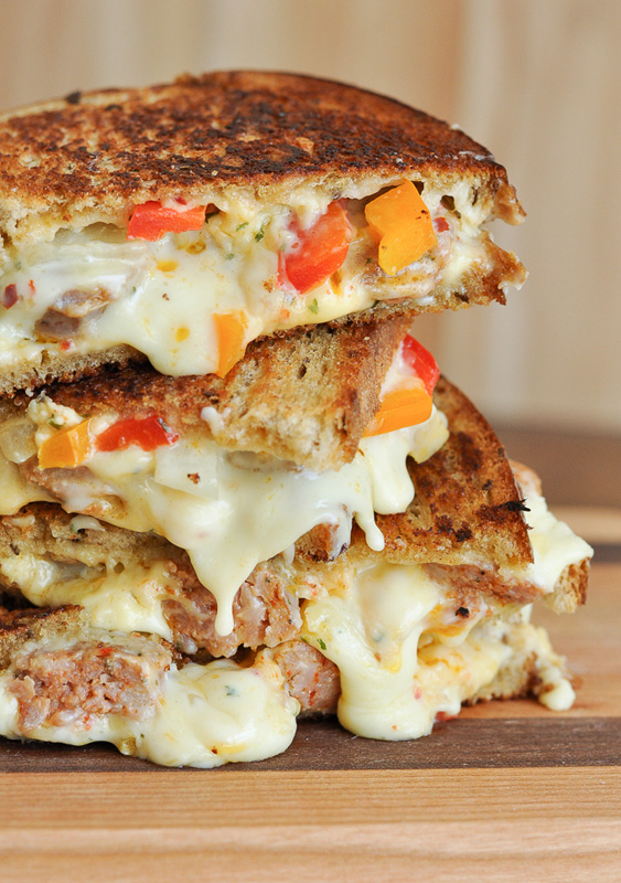 Sausage & Pepper Chipotle Grilled Cheese   25+ Grilled Cheese Recipes