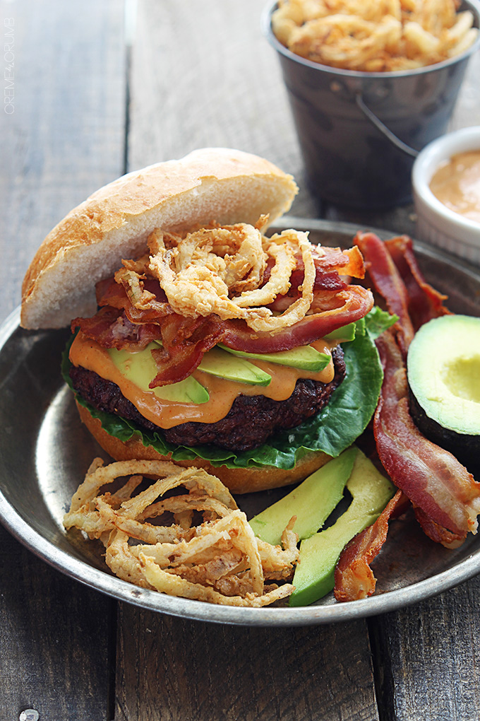Western Bacon Burgers with BBQ mayo and crispy onion strings | 25+ Burger recipes