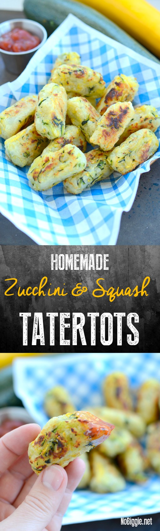 Zucchini and Squash tater Tots - tater tots that are homemade and delicious not to mention that they are baked and not fried! #healthytatertots #healthyrecipes #zucchini #squash #tatertots #tatertotrecipe