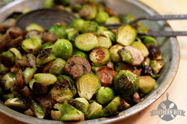 Roasted Brussels Sprouts with Mushrooms | 25+ mushroom recipes