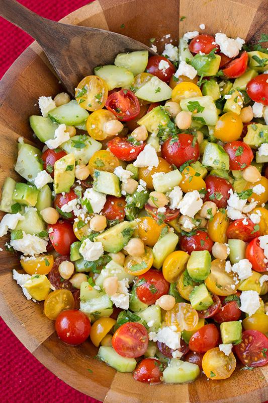 Tomato Avocado Cucumber Chickpea Salad | 25+ Chickpea Recipes