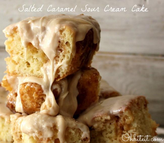 Salted Caramel Sour Cream Cake | 25+ Poke Cake Recipes