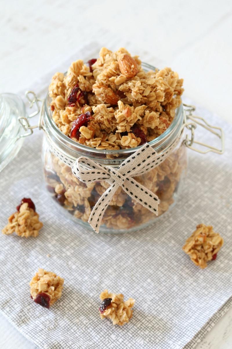 Crunchy Homemade Almond Cranberry and Coconut Oil Granola | 25+ Granola recipes