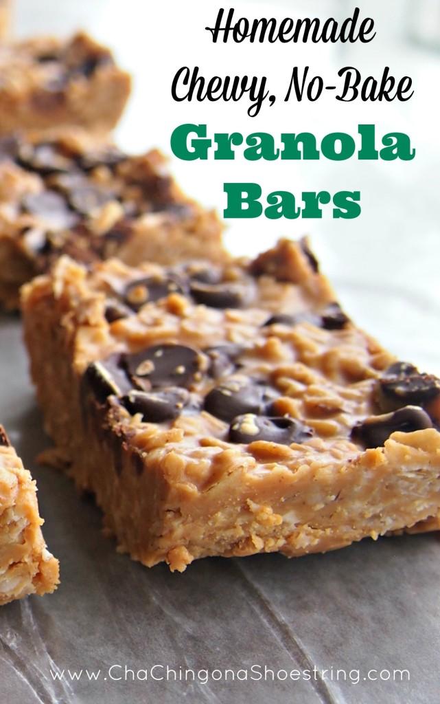 Homemade Chewy No Bake Granola Bars | 25+ Granola recipes