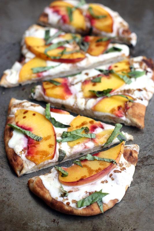 Peach & Basil Mozzarella Flatbread   25+ Mozzarella Recipes
