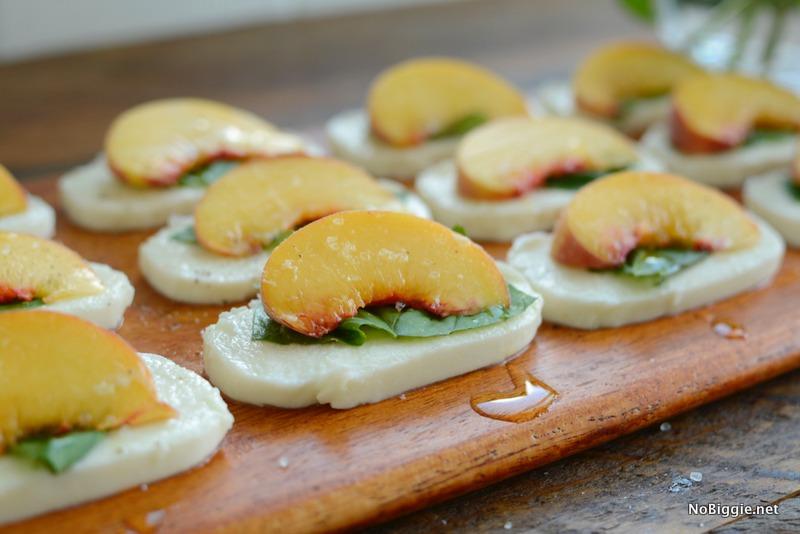 peach basil mozzerella appetizers | NoBiggie.net