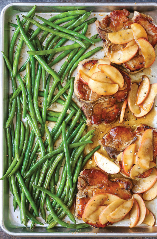 Baked Apple Pork Chops | 25+ Sheet Pan Dinner Recipes